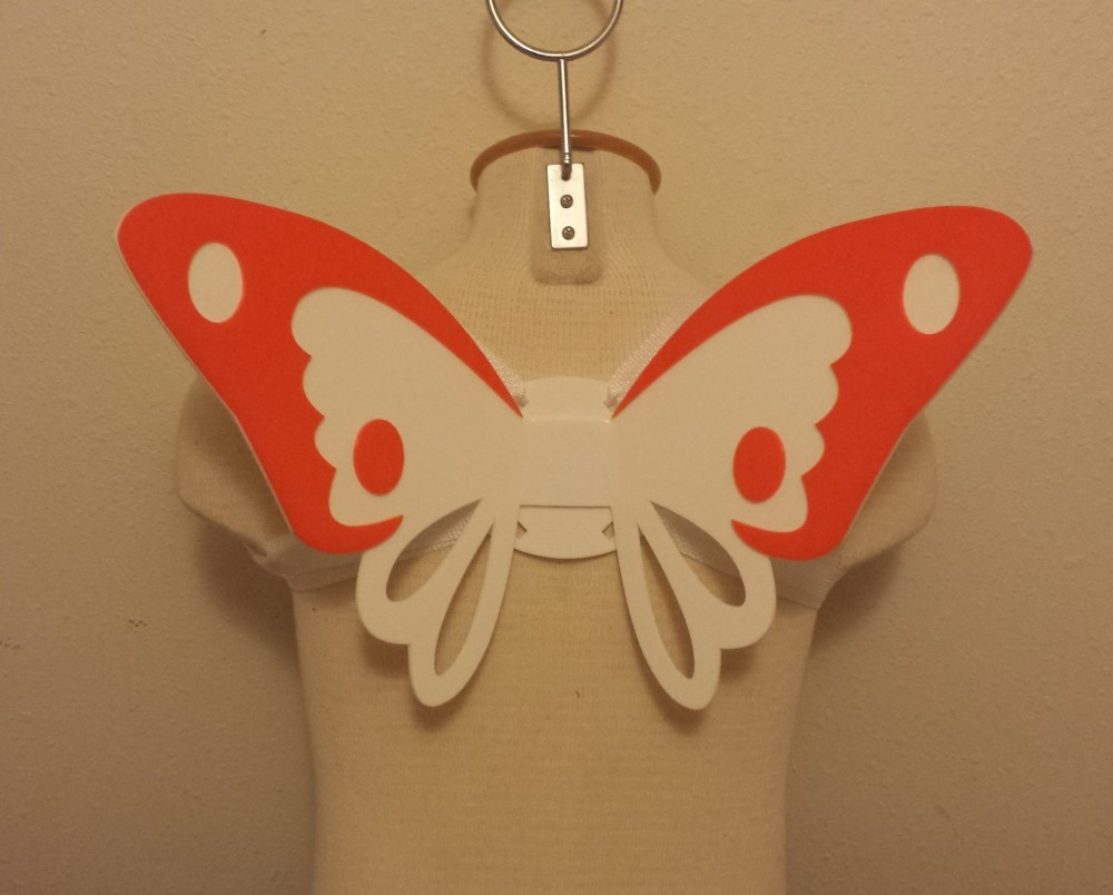 These butterfly wings were made by staff member Stu using used the  laser cutter and strip heater.