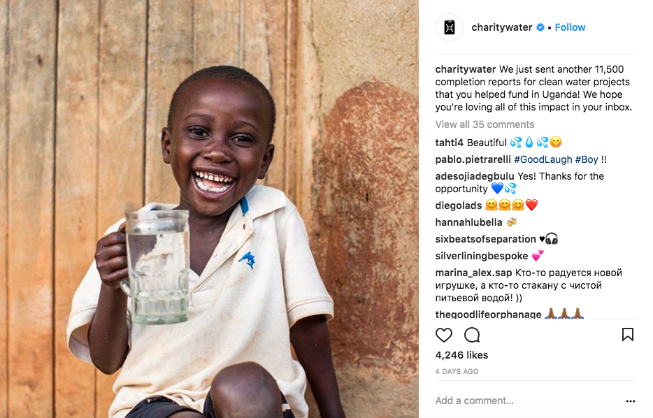 Charity Water combines a picture of one child drinking clean water with a statistic as the caption.