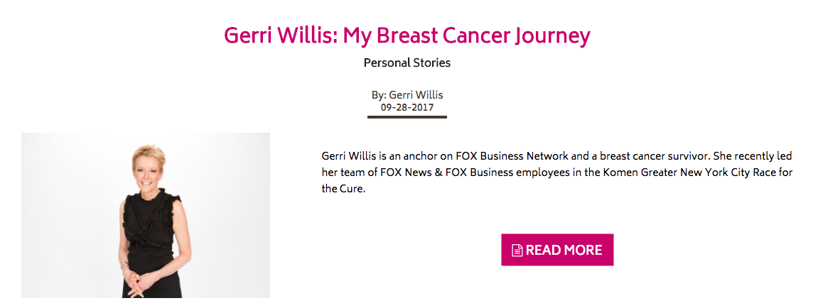 Susan G. Komen  has a section of their blog dedicated to in depth stories of breast cancer survivors.