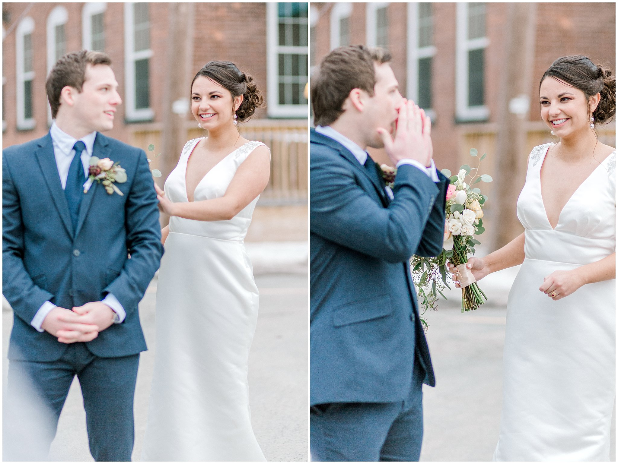 Navy wedding First look reaction lehigh valley wedding photography