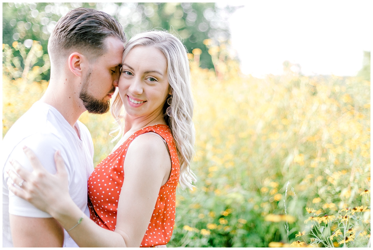 Blue Marsh Lake Reading Pennsylvania flower field golden hour engagement session by PA based wedding and lifestyle photographer Lytle photography_0010.jpg