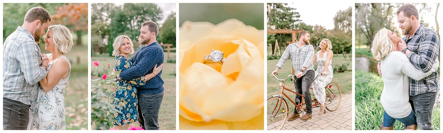 Allentown rose garden sunset engagement session with a tandem bike by lehigh valley pennsylvania based wedding and lifestyle photographer Jeannie Lytle of Lytle Photography Company_0017.jpg