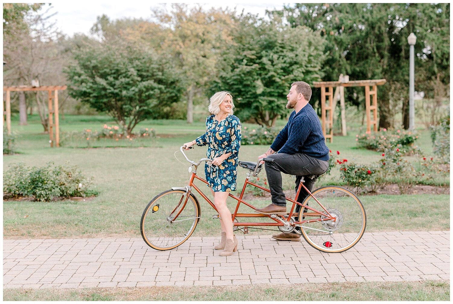 Allentown rose garden sunset engagement session with a tandem bike by lehigh valley pennsylvania based wedding and lifestyle photographer Jeannie Lytle of Lytle Photography Company_0003.jpg
