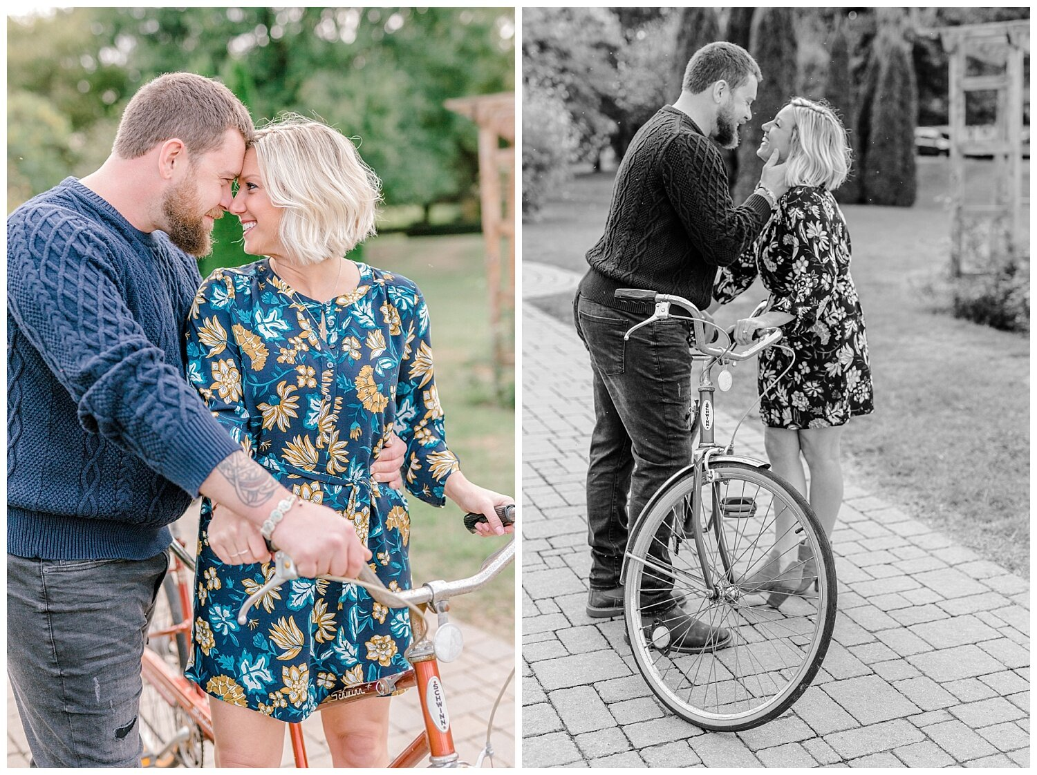 Allentown rose garden sunset engagement session with a tandem bike by lehigh valley pennsylvania based wedding and lifestyle photographer Jeannie Lytle of Lytle Photography Company_0004.jpg