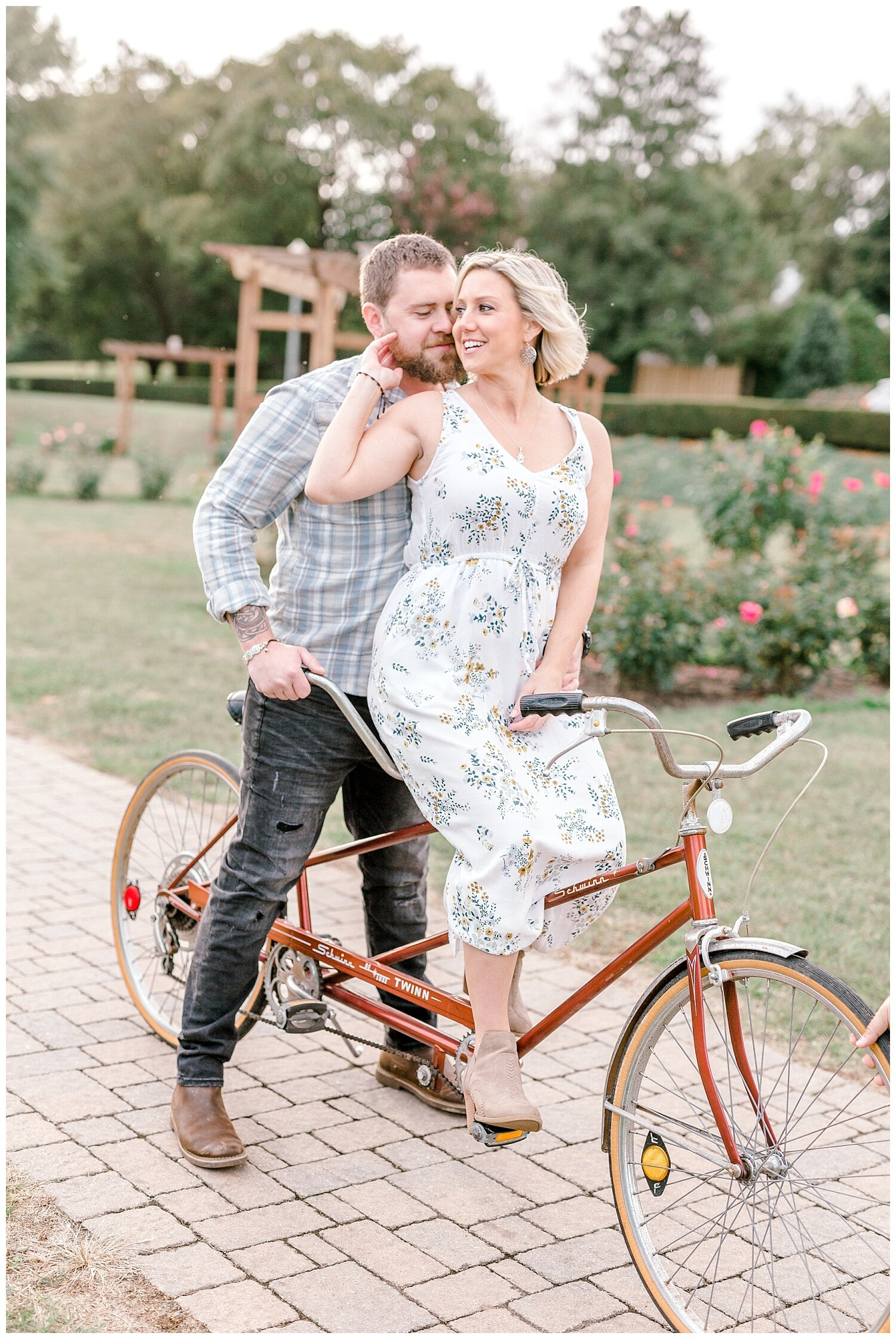 Allentown rose garden sunset engagement session with a tandem bike by lehigh valley pennsylvania based wedding and lifestyle photographer Jeannie Lytle of Lytle Photography Company_0008.jpg
