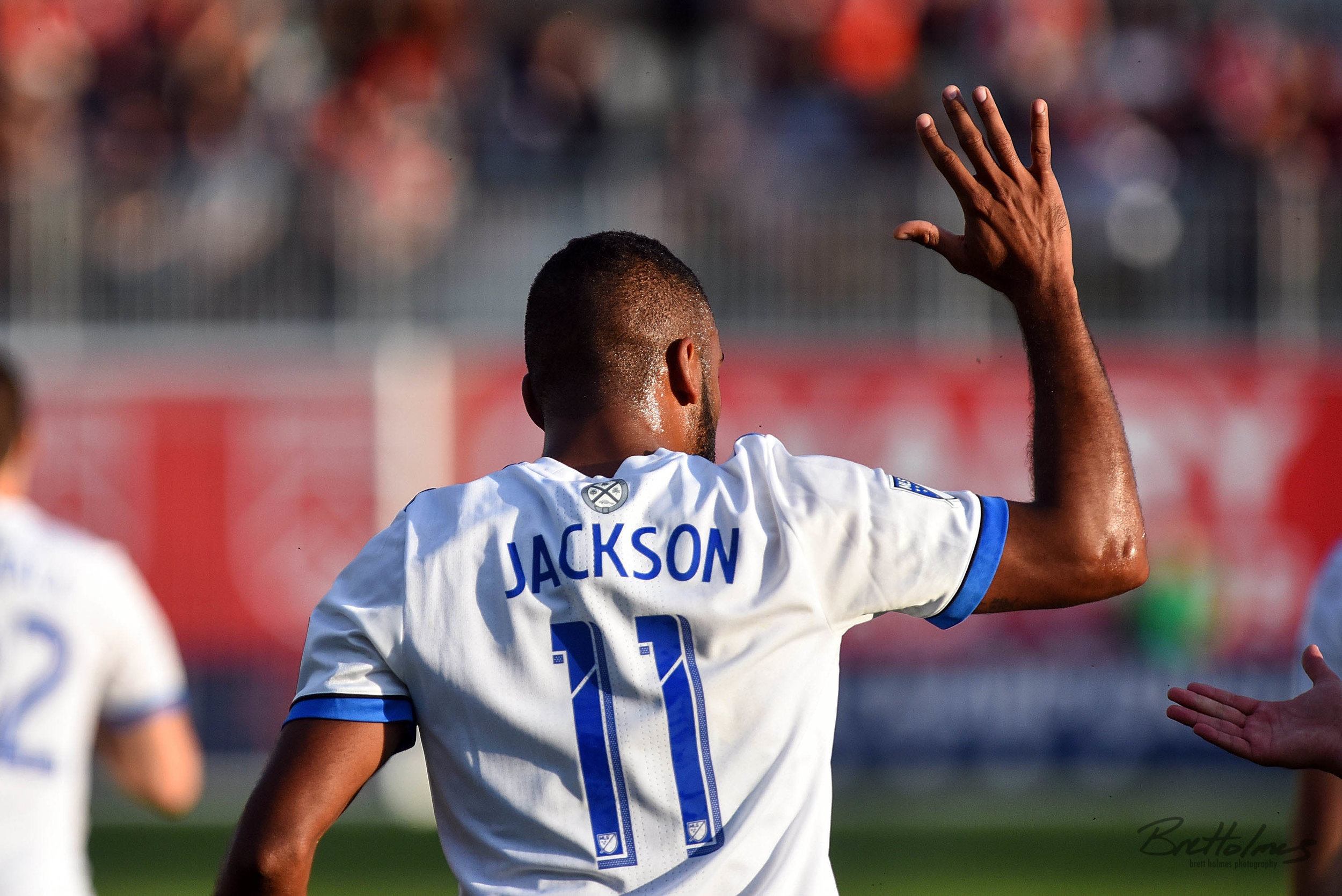 CALGARY, AB - AUGUST 14: Montreal Impact forward Anthony Jackson-Hamel (11) celebrates after scoring a goal during the first half of the second leg of a Canadian Championship semifinal match between the Montreal Impact and Cavalry FC on August 14, 2019, at ATCO Field at Spruce Meadows in Calgary, AB. (Photo by Brett Holmes/Icon Sportswire)