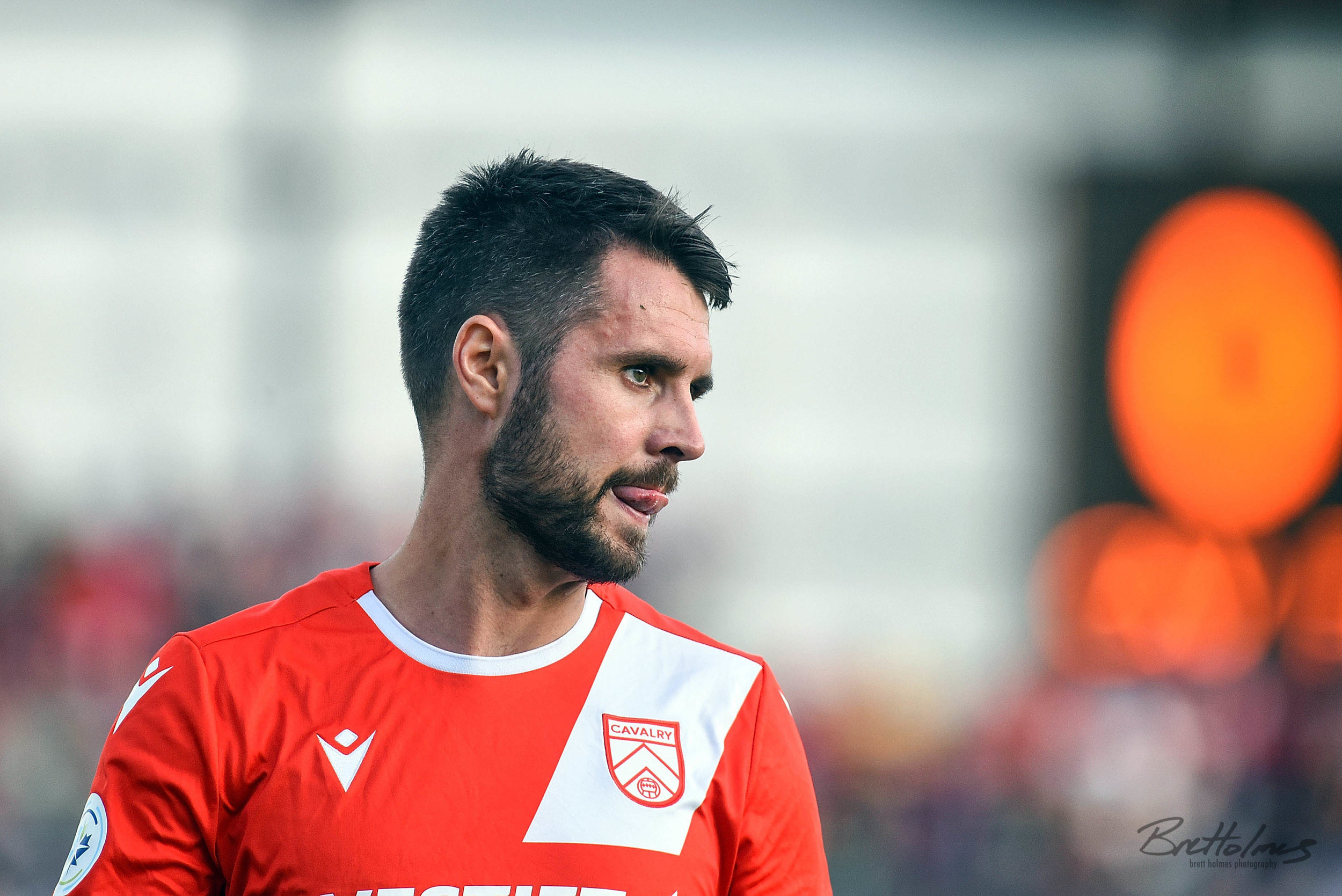 CALGARY, AB - AUGUST 14: Cavalry FC defender Jay Wheeldon (14) looks on during the first half of the second leg of a Canadian Championship semifinal match between the Montreal Impact and Cavalry FC on August 14, 2019, at ATCO Field at Spruce Meadows in Calgary, AB. (Photo by Brett Holmes/Icon Sportswire)