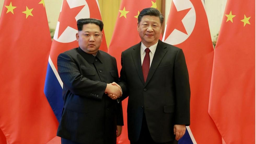 Xi Jinping meets with Kim Jong Un, May 8, 2018