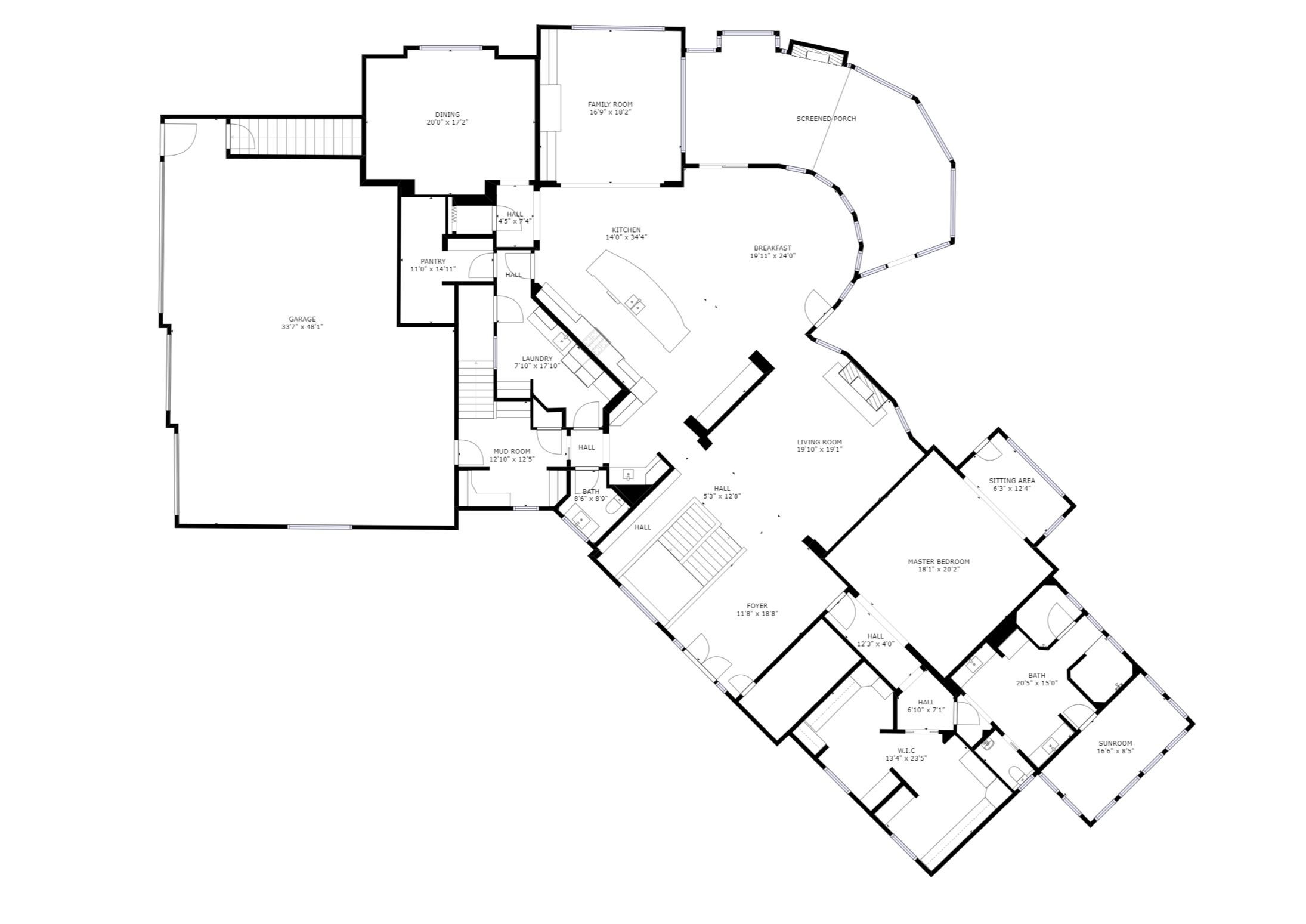 Main Floor – sizes and dimensions are approximate. Actual may vary.