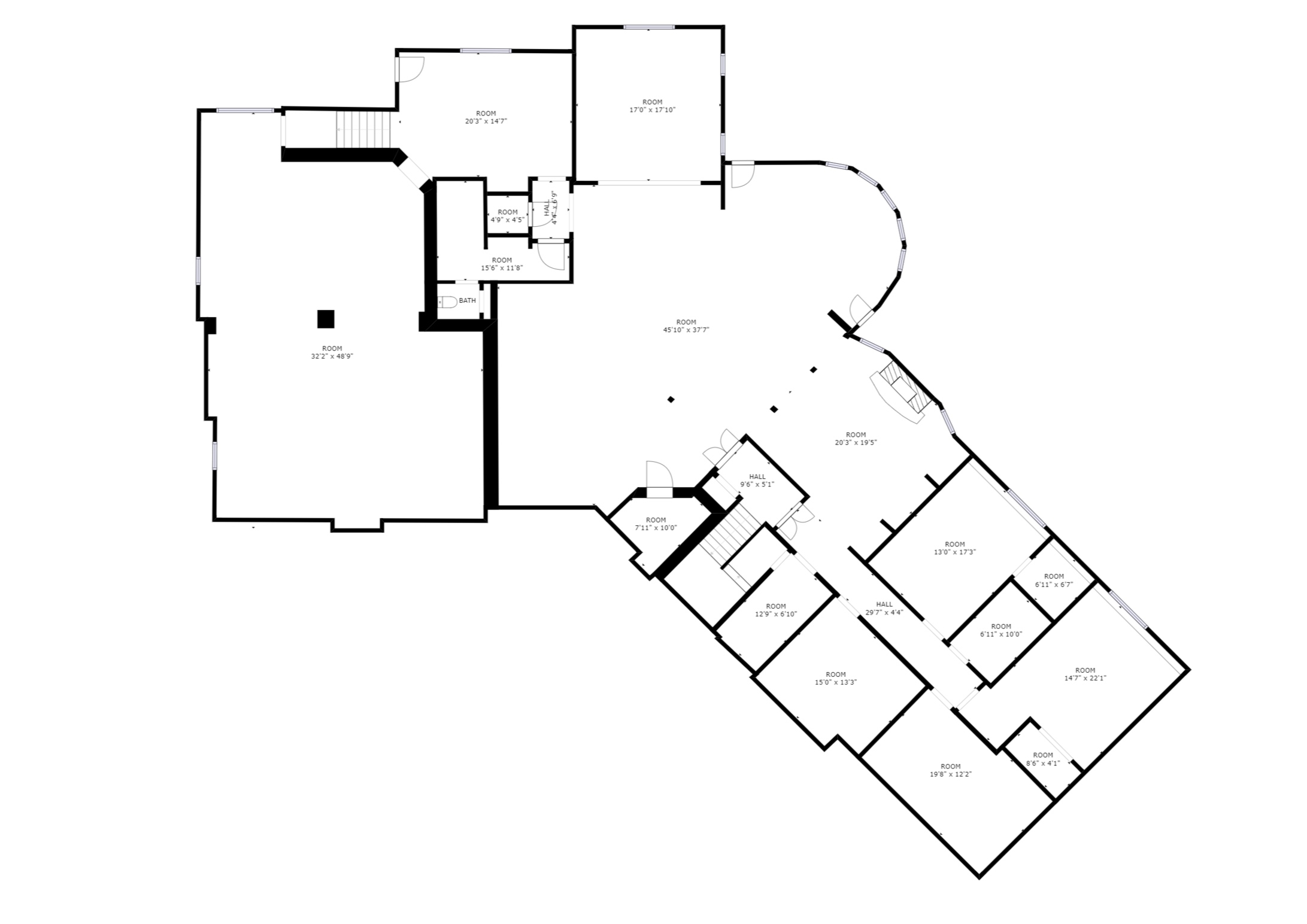 Basement – sizes and dimensions are approximate. Actual may vary.