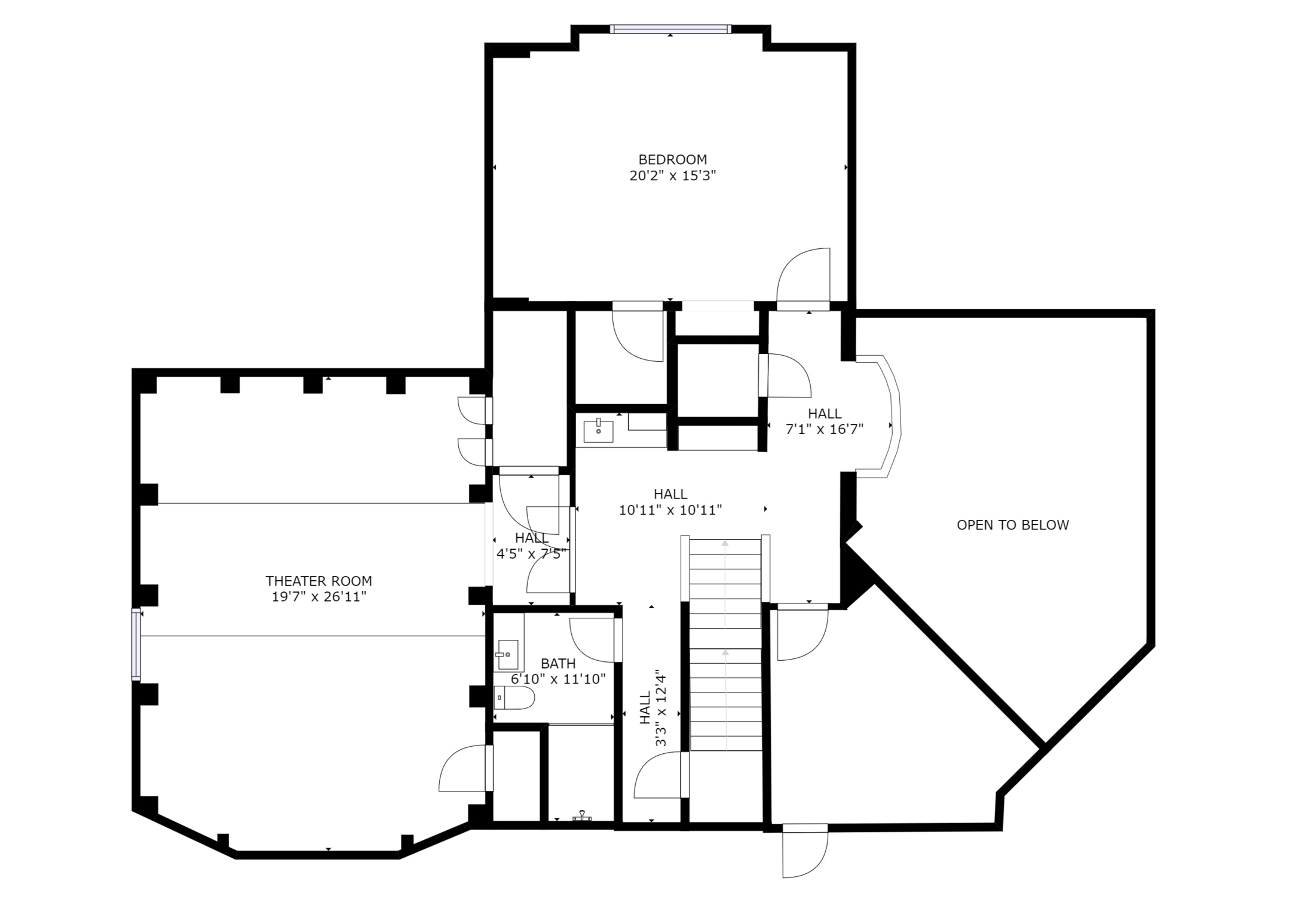 Second Floor – sizes and dimensions are approximate. Actual may vary.