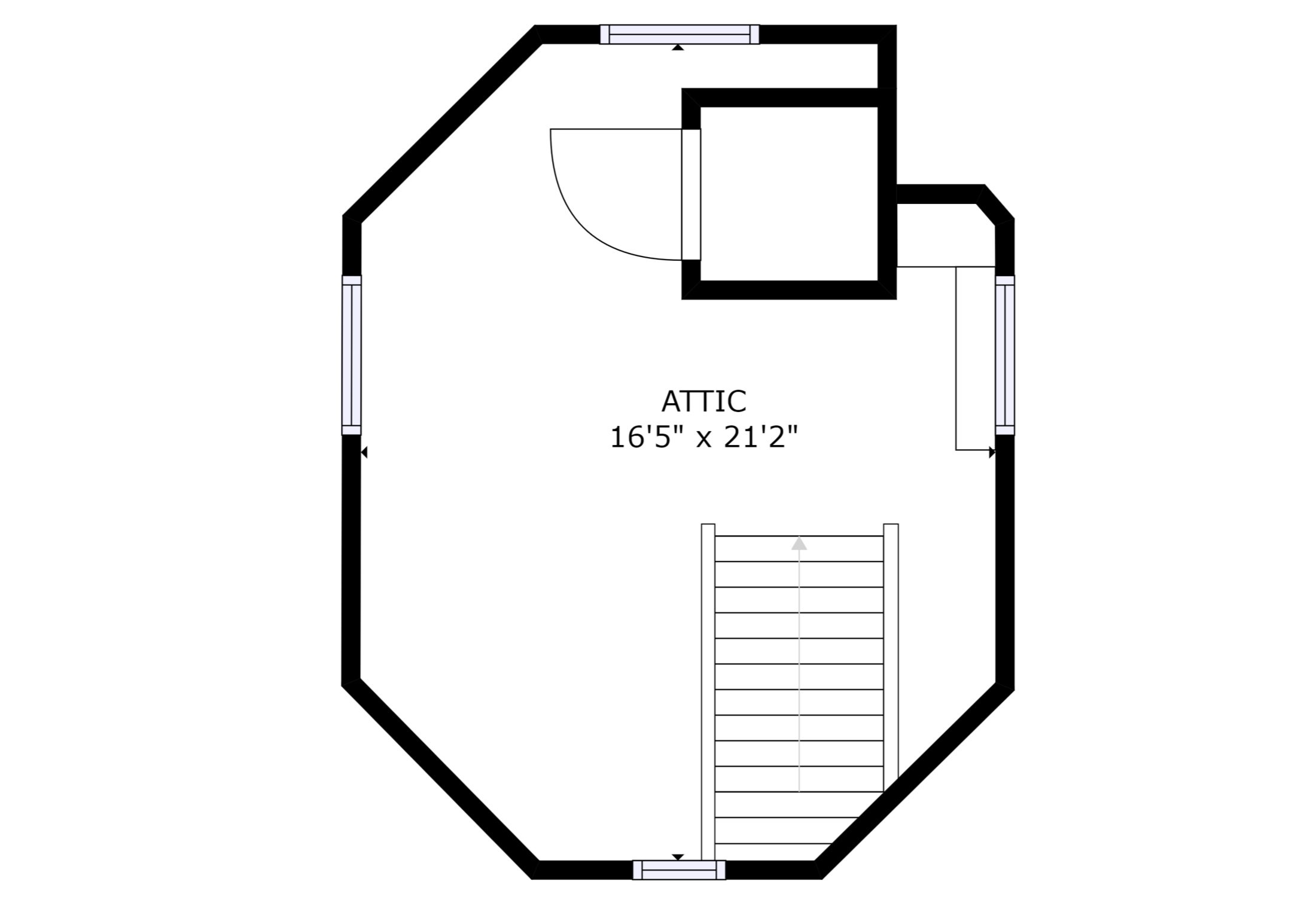 Third Floor: Upper Room – sizes and dimensions are approximate. Actual may vary.