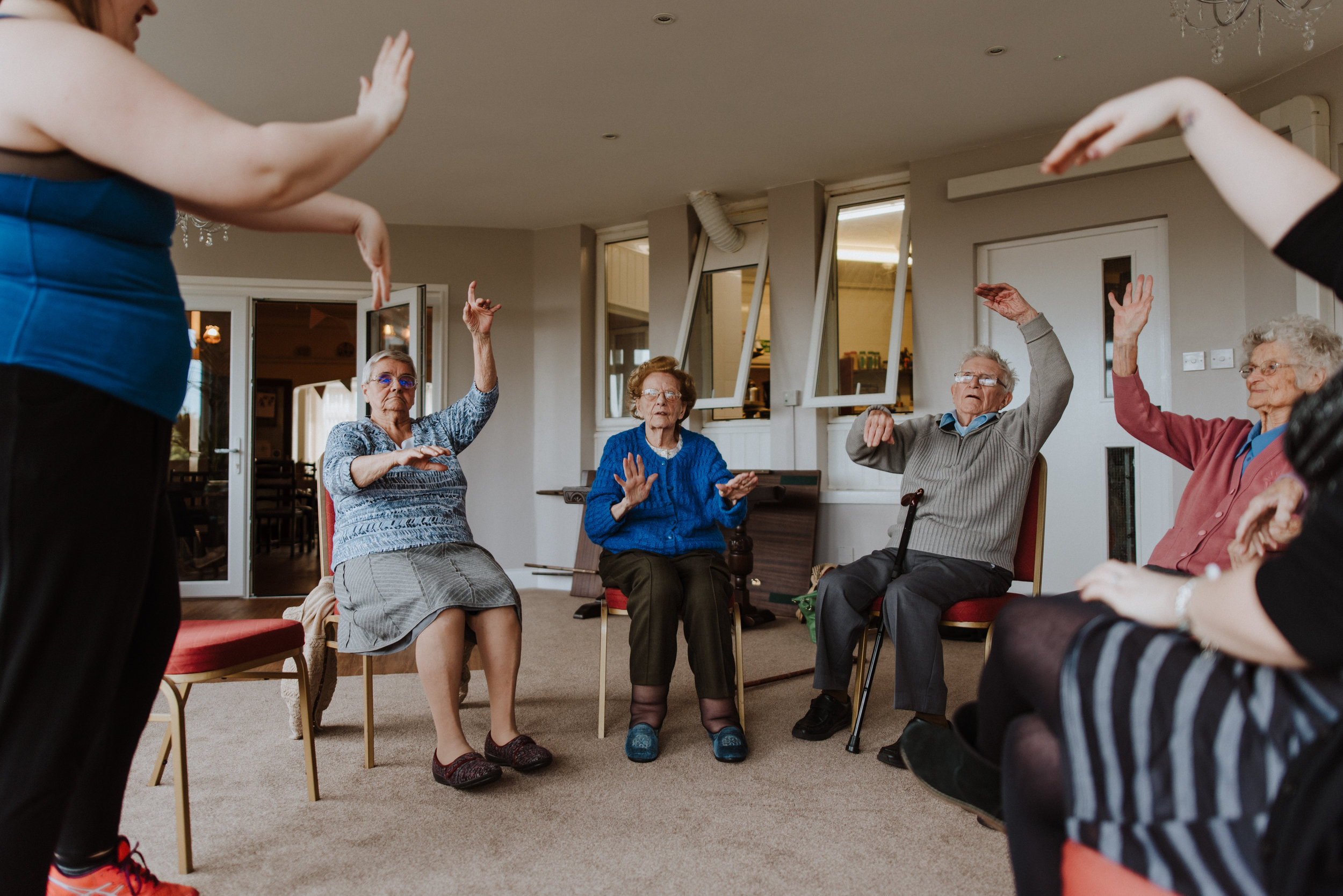 Residents rocking some disco moves! All Join The Circle Sessions are suitable for Dementia sufferers and those with impaired physical ability. Dance for everyone!