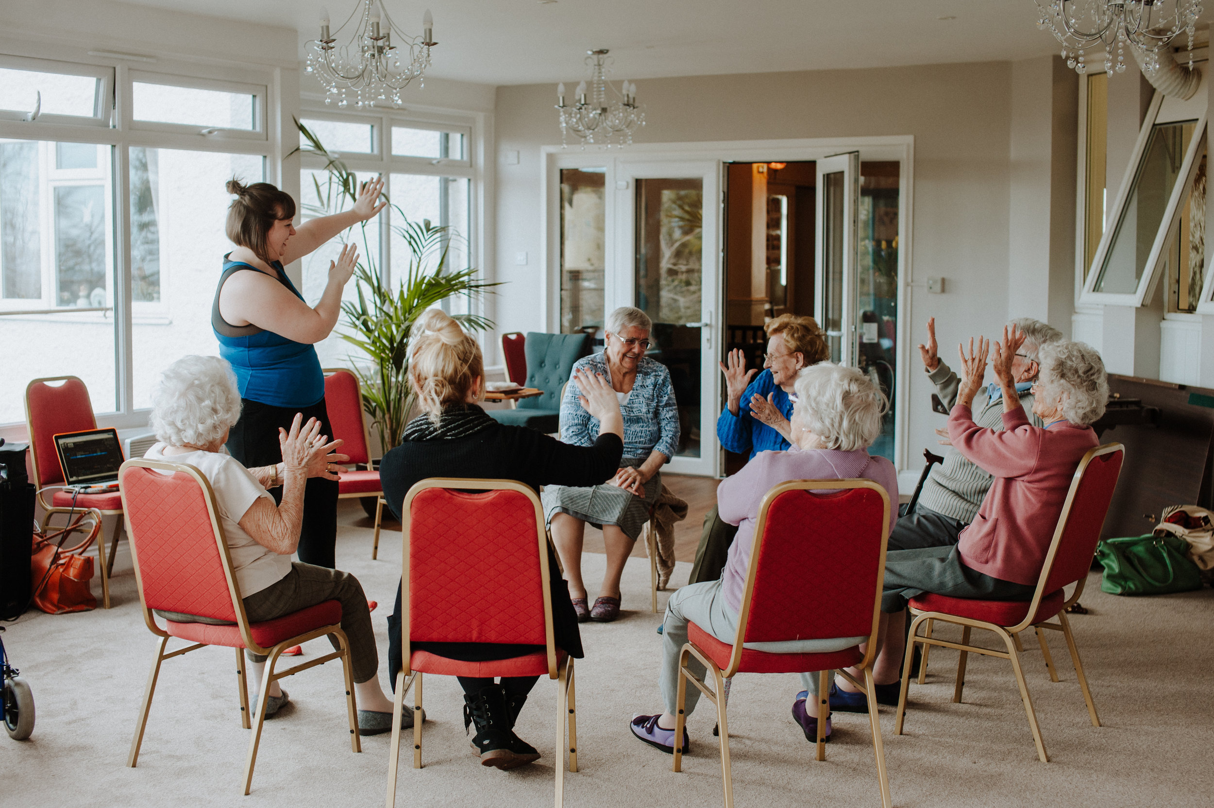 This is a Join The Circle session in progress. Me demonstrating the moves whilst Margaret laughs on!