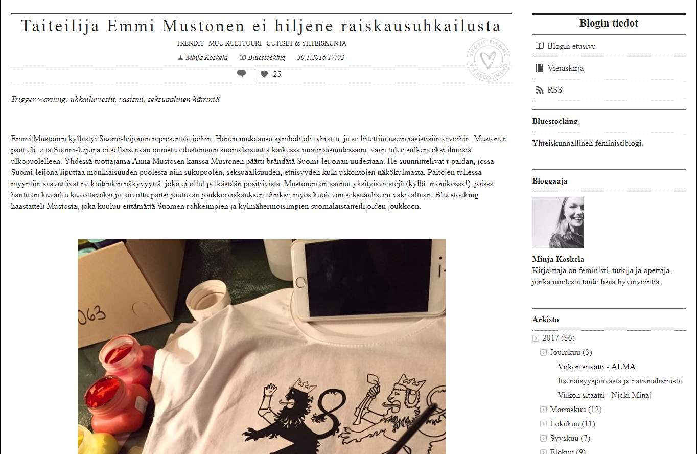 """""""Taiteilija Emmi Mustonen ei hiljene raiskausuhkailustaTaiteilija Emmi Mustonen ei hiljene raiskausuhkailusta"""" - Bluestocking blogi 30.1.2016"""