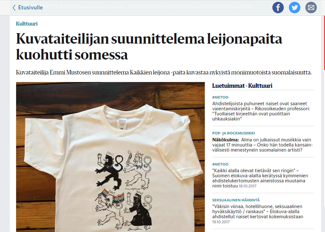 """""""Kuvataiteilijan suunnittelema leijonapaita kuohutti somessa."""" - Helsingin Sanomat 20.1.2016"""