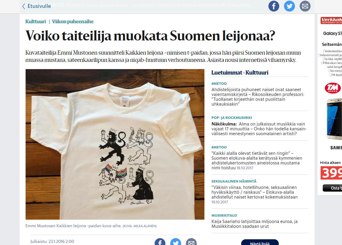 """""""Voiko taiteilija muokata Suomen leijonaa?"""" - Helsingin Sanomat 23.1.2016"""