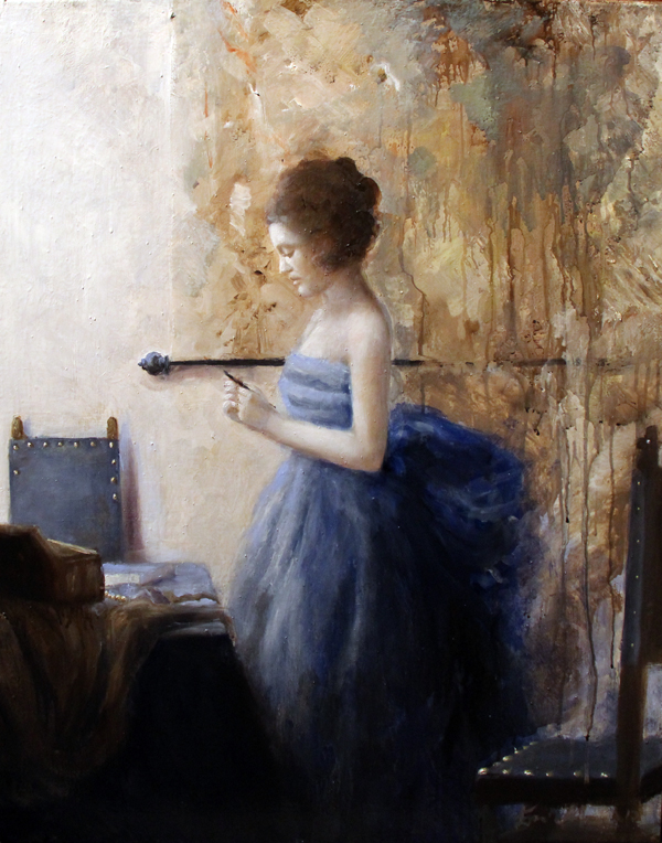 Woman in blue reading a text