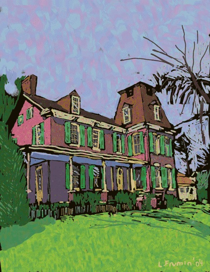 The Rest, Tenleytown's oldest historic building, is two houses away from the planned development on 39th Street NW.   Image courtesy L Frumin who created this drawing for the historic landmark marker.