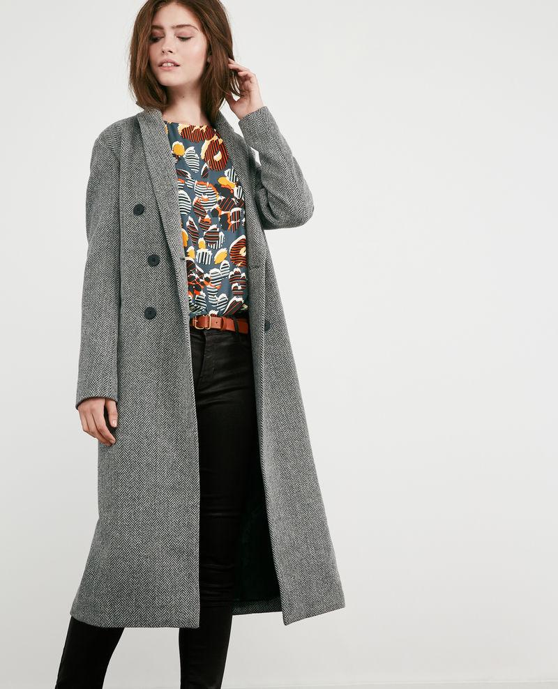 Manteau long en tweed avec laine Medium heather grey - Dalacet _ Comptoir des Cotonniers saco lana rebajas.jpg