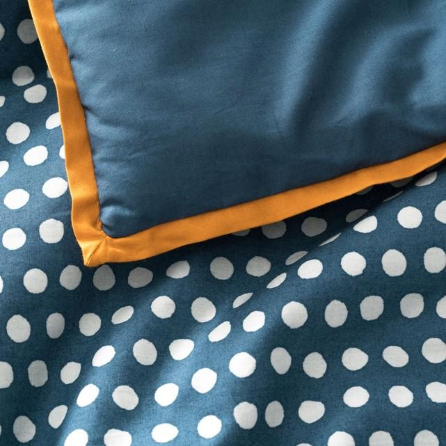 Couvre-lit en percale, duo bleu prusse pois céladon La Redoute Interieurs.jpg