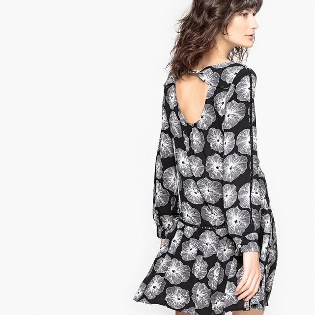 Robe imprimée fleurs, manches longues imprimé fond noir Mademoiselle R en solde.jpg