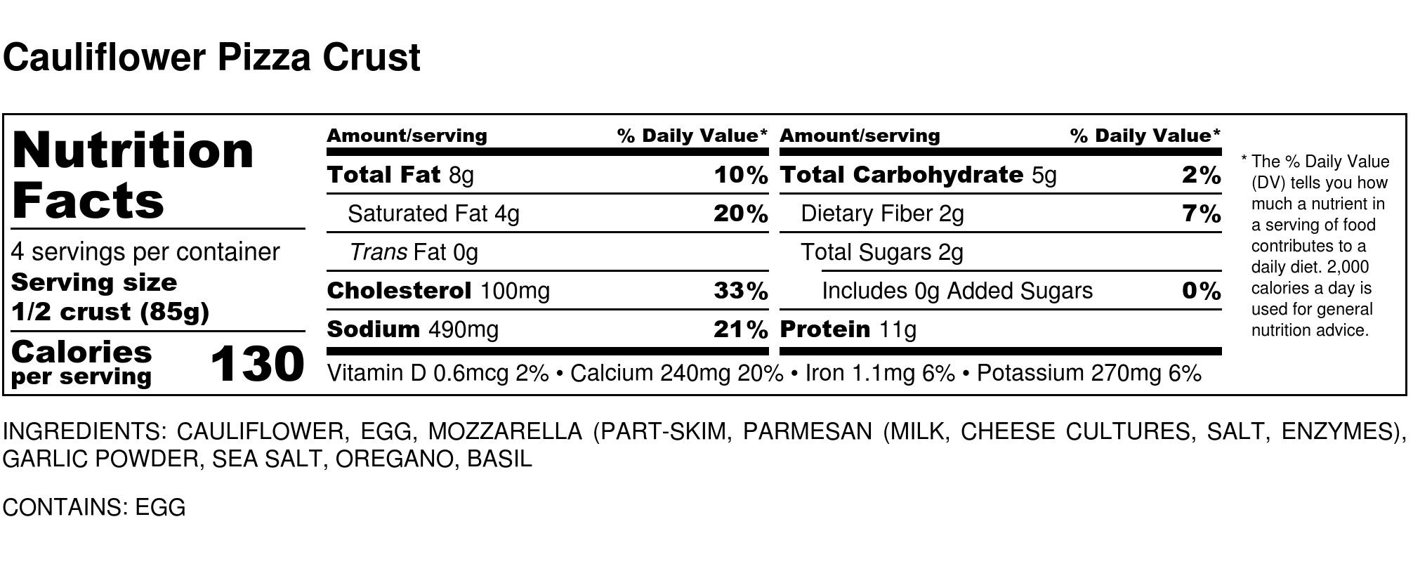 Cauliflower Pizza Crust - 4 servings- 2 crusts.jpg