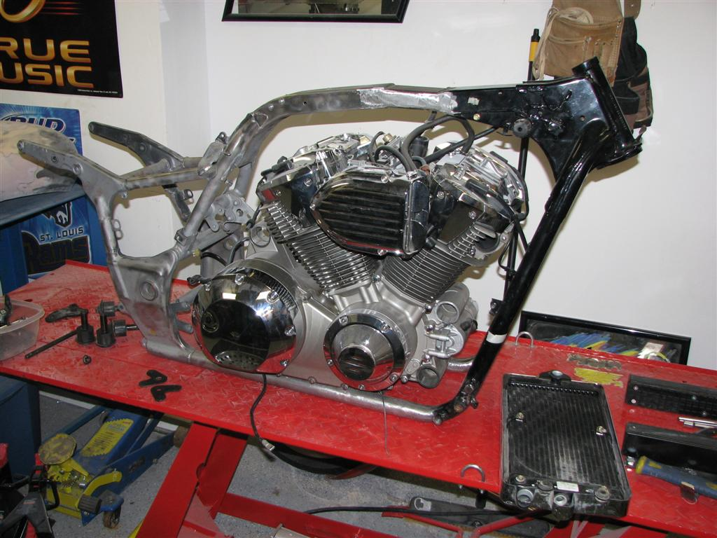 Honda VTX 1800 - Stretched Frame - Fitting new motor mounts.