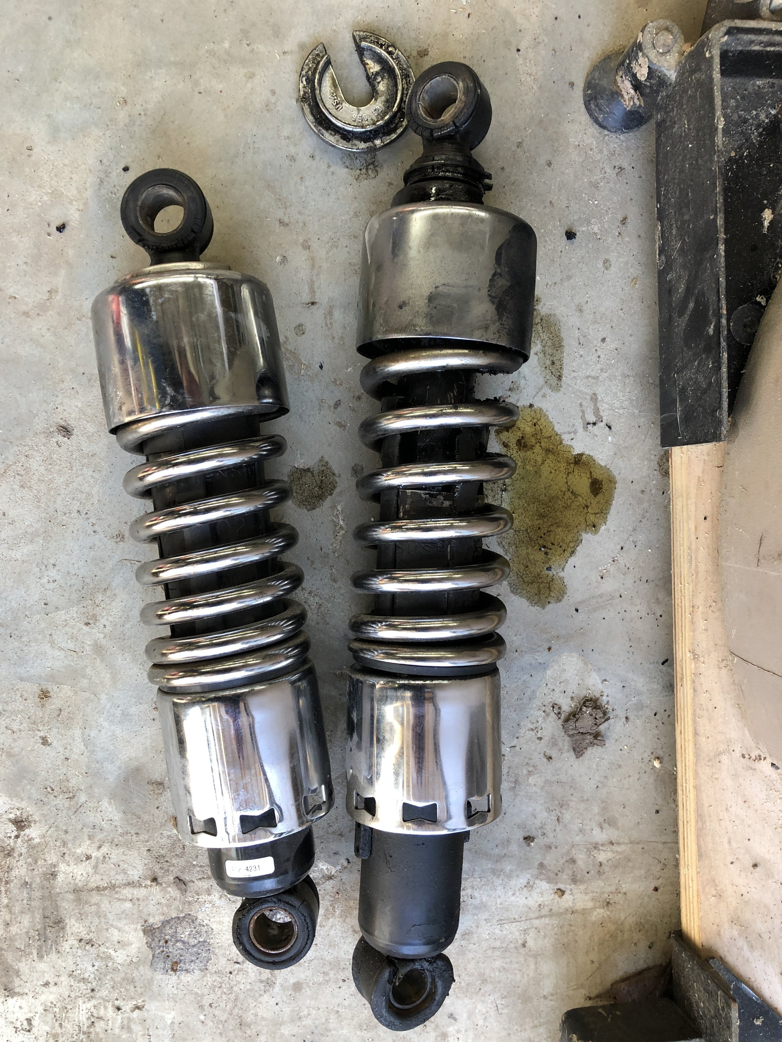 Now I know why the ride had gotten so soft… Very Broken Progressive Shocks. Do they rebuild these?