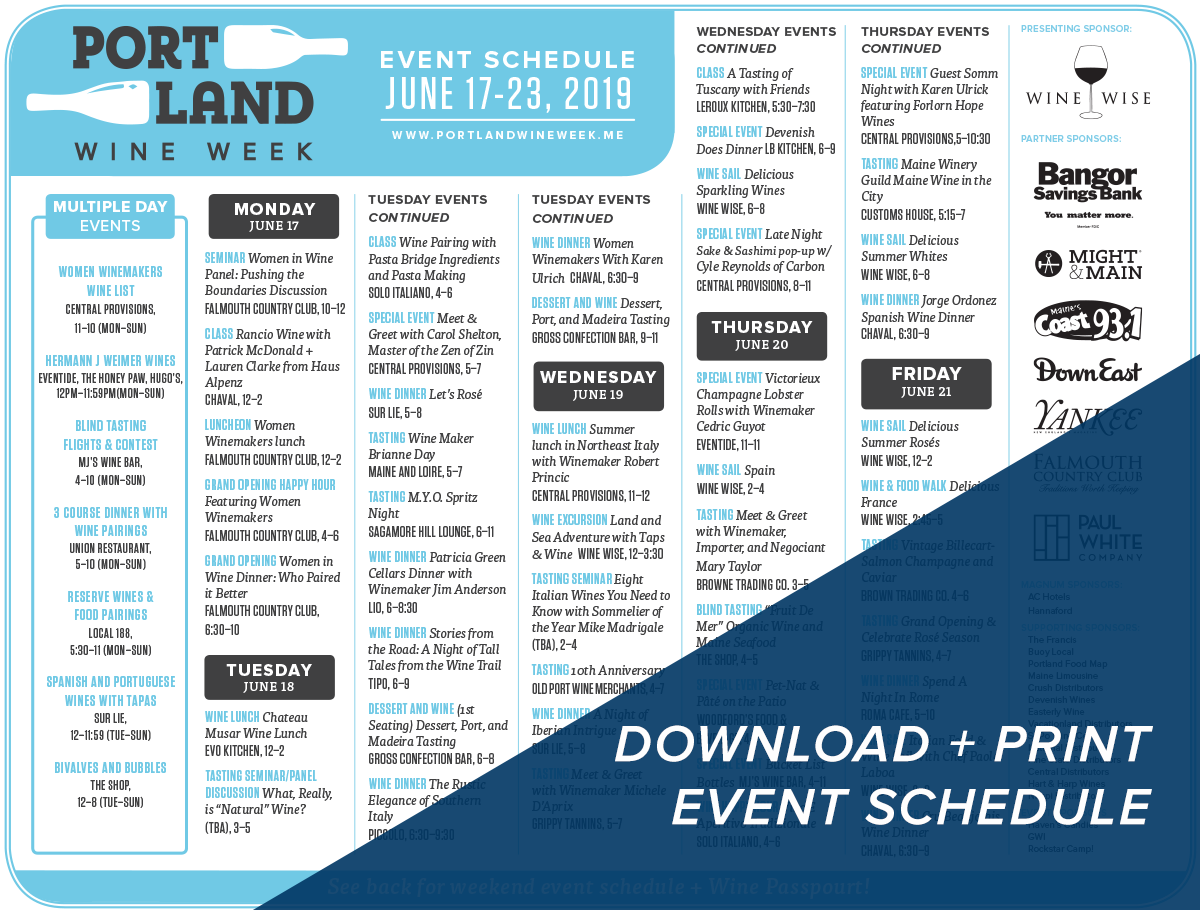 Print the 2019 Portland Wine Week Downloadable Schedule!