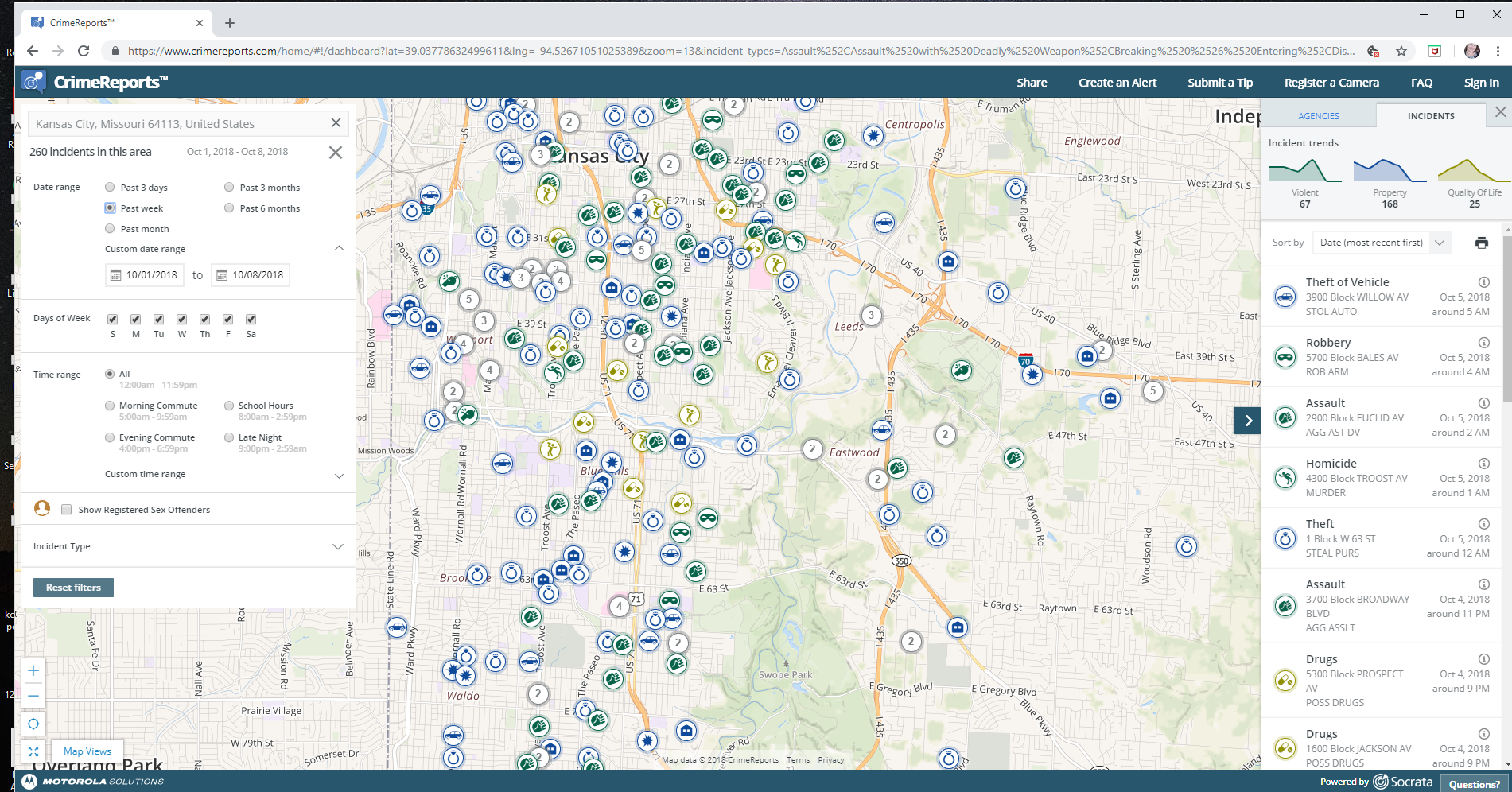 Past week of crime in part of Brookside, Waldo, and Plaza areas of KC. LOTS of incidents!
