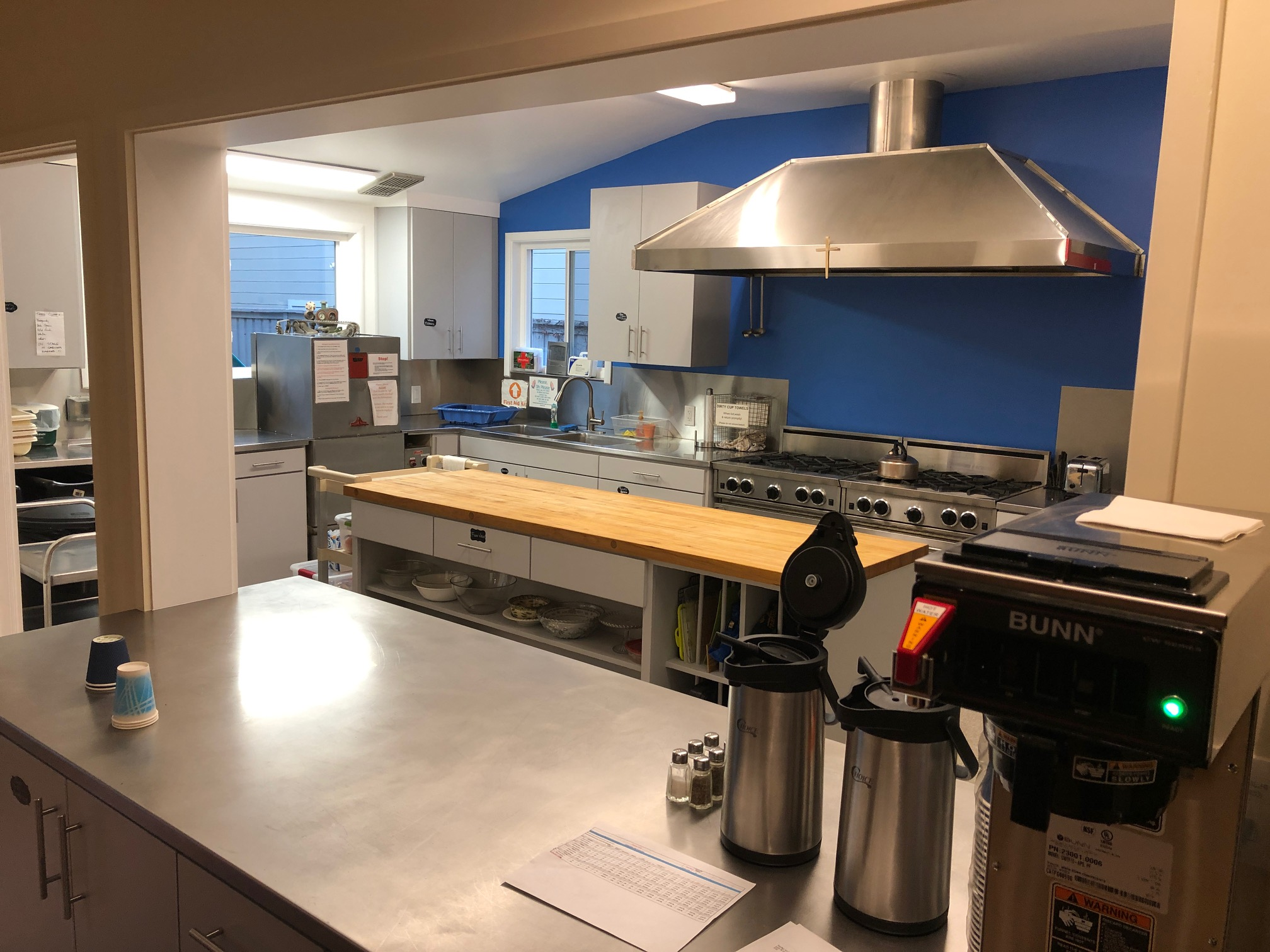 Our recently-remodeled kitchen with dual stoves is available for meal preparation for events or a base for event catering.