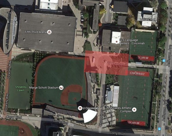 The southeast corner of UC campus, with the (approximate) location of Sander Hall highlighted in red. [Google Maps]
