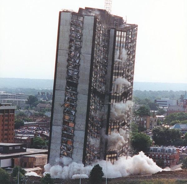 Sander Hall crumbles, June 23, 1991. [uc.edu]