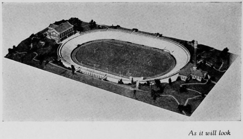 Original proposed Nippert plan in 1922 called for a full oval. (UC Libraries)