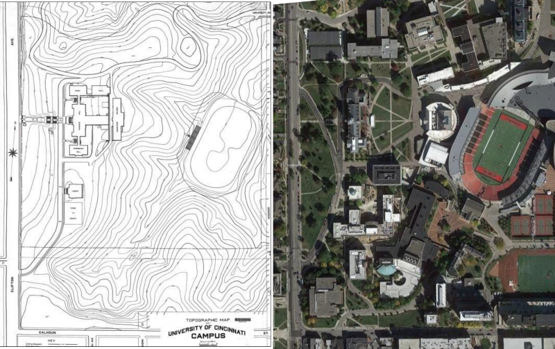 A 1909 topographical map, showing why the location of Carson/Nippert was chosen. (uc.edu/Google Maps)