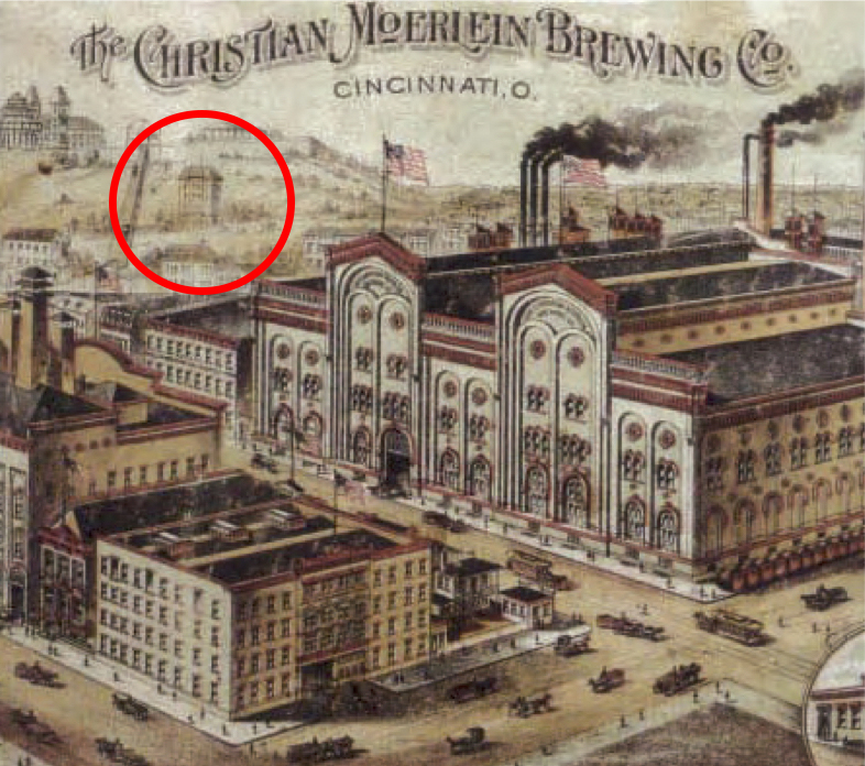 The original UC building (circled) was located on a hillside next to the Bellevue Incline, pictured here in a promotional lithograph from Christian Moerlein Brewing Co. [via uc.edu]