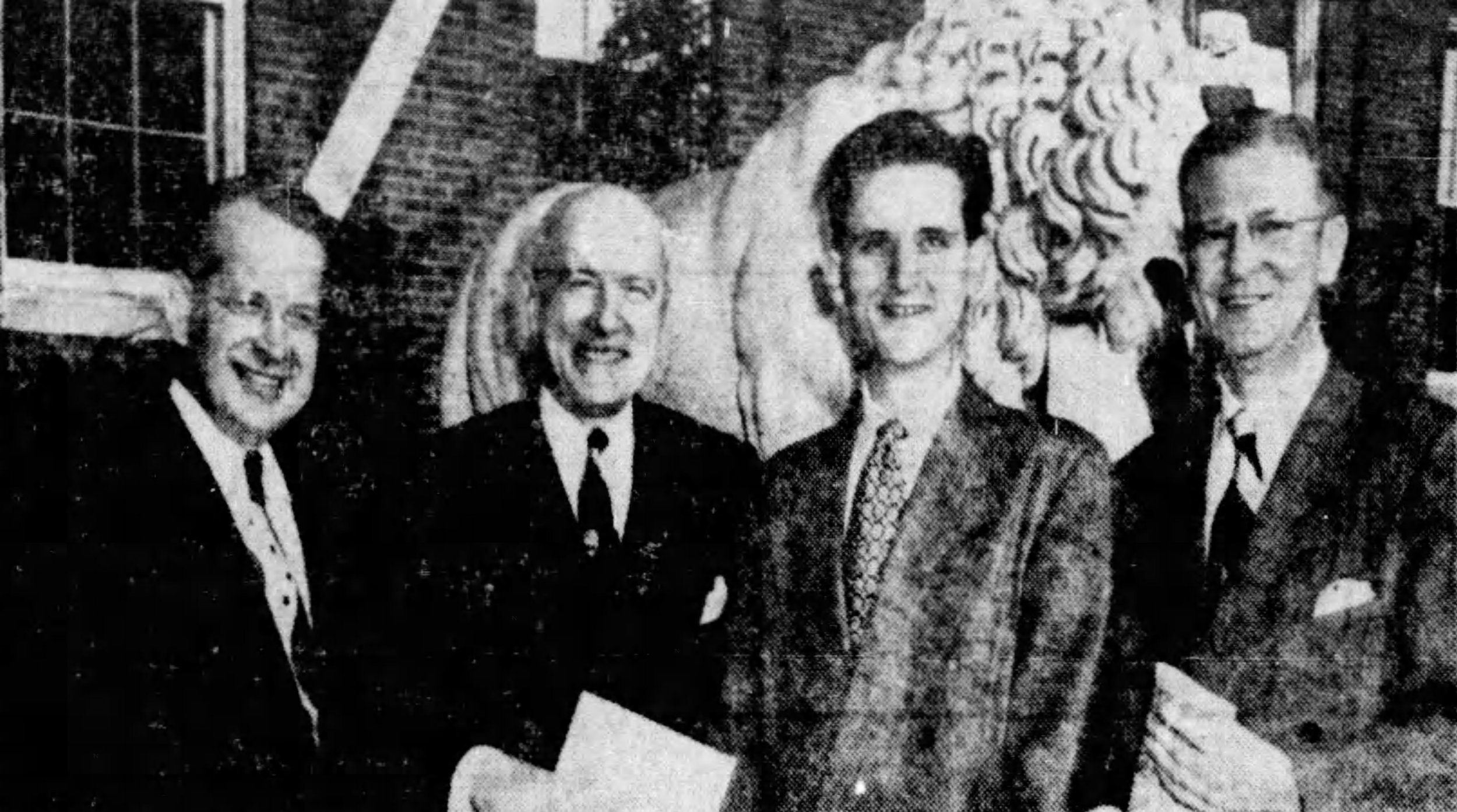 Alumni Association president, UC president, Student Council president and Building Committee Chairman pictured at the McMicken dedication ceremony, April 1950 [via the Cincinnati Enquirer]