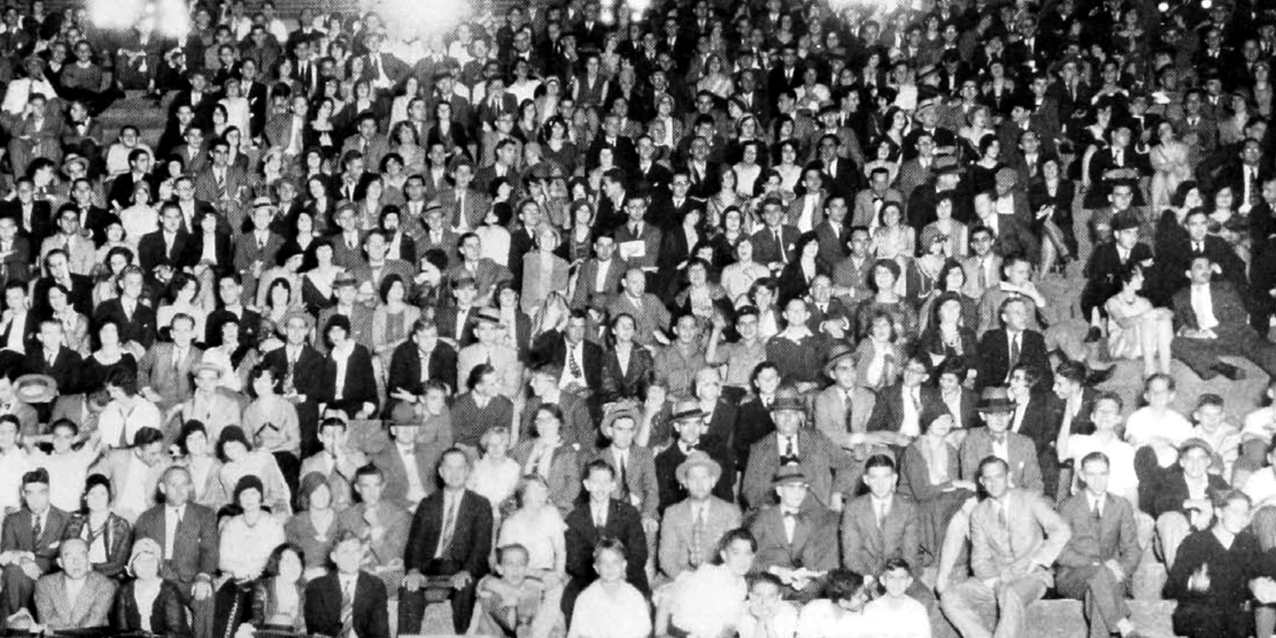 Fans fill the stands for the September 27,1930 night game against Cedarville. The Bearcats won 46-0. (UC Libraries via uc.edu)