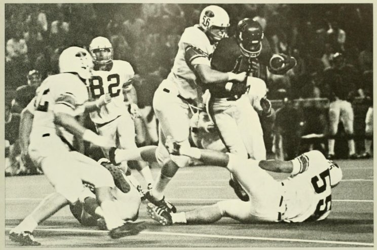 Al Johnson carries for the Bearcats in a 1970 game at Nippert Stadium. Cincinnati lost, 6-3.