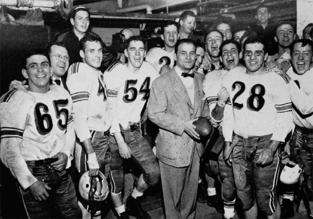 Gene Rossi (28) after beating Xavier in 1950 [UC Libraries]
