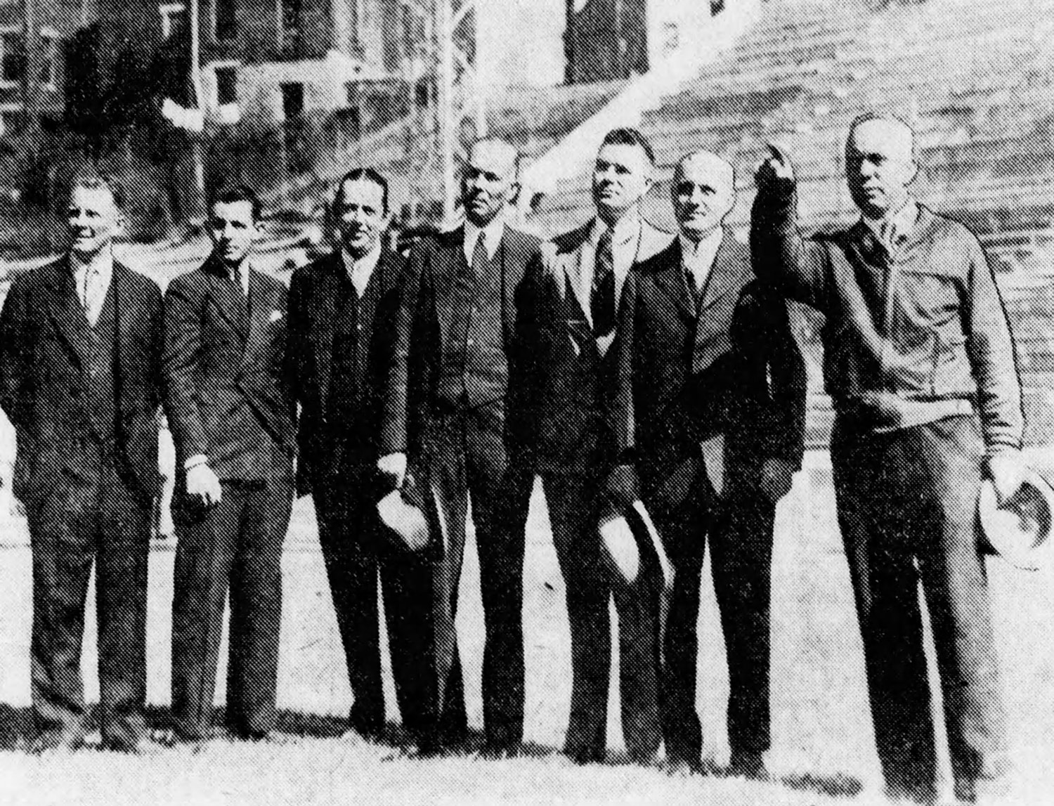 University and county officials complete the refurbished stadium's final inspection—September 25, 1936. [Enquirer]