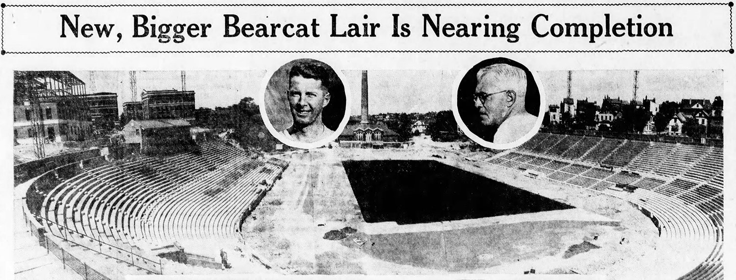 Nippert Stadium nearing completion, 1936. Inlaid left is AD Dana M. King. Inlaid right is head coach Russ Cohen. [Enquirer]
