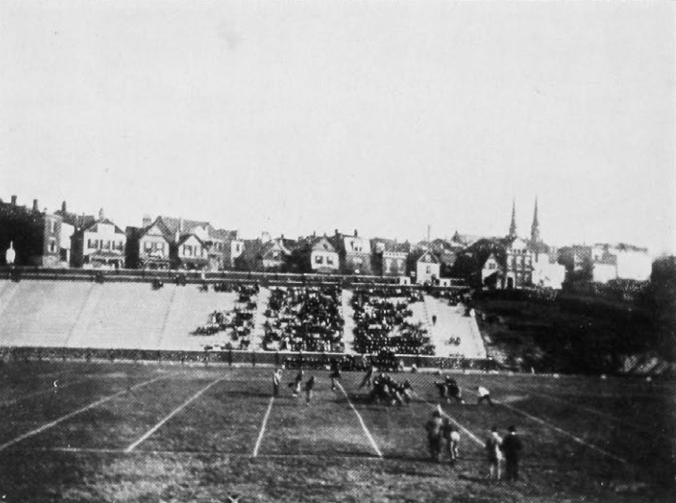 The east side of Carson Field, and the new concrete stands—1915. [UC Libraries]