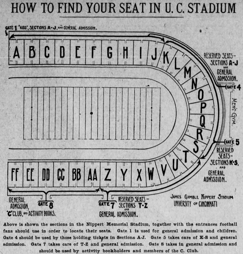 Nippert Stadium seating chart, 1925 [Enquirer]