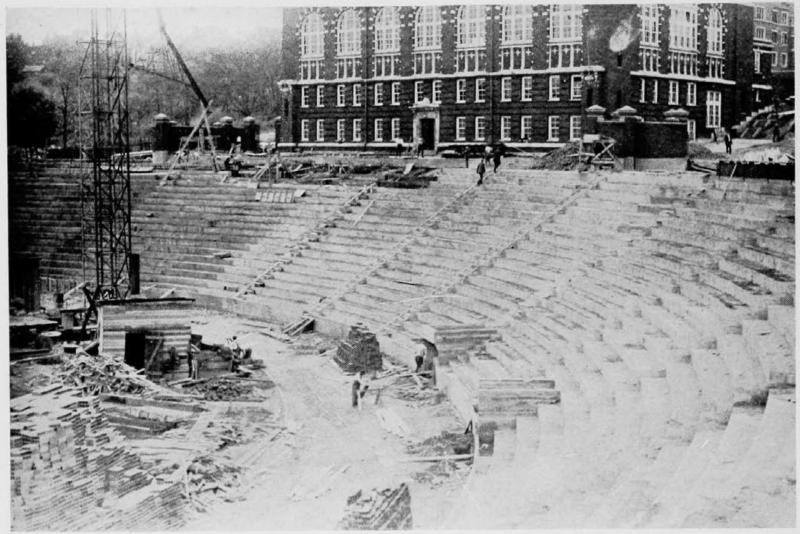 Nippert Stadium construction, 1924 [UC Libraries]