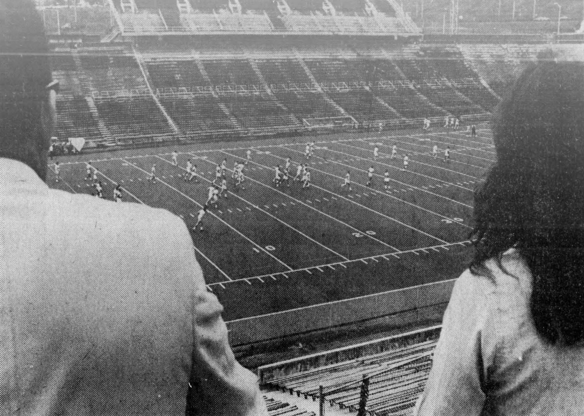 The Bearcats practice on Nippert Stadium's new AstroTurf, September 1970. [Enquirer]