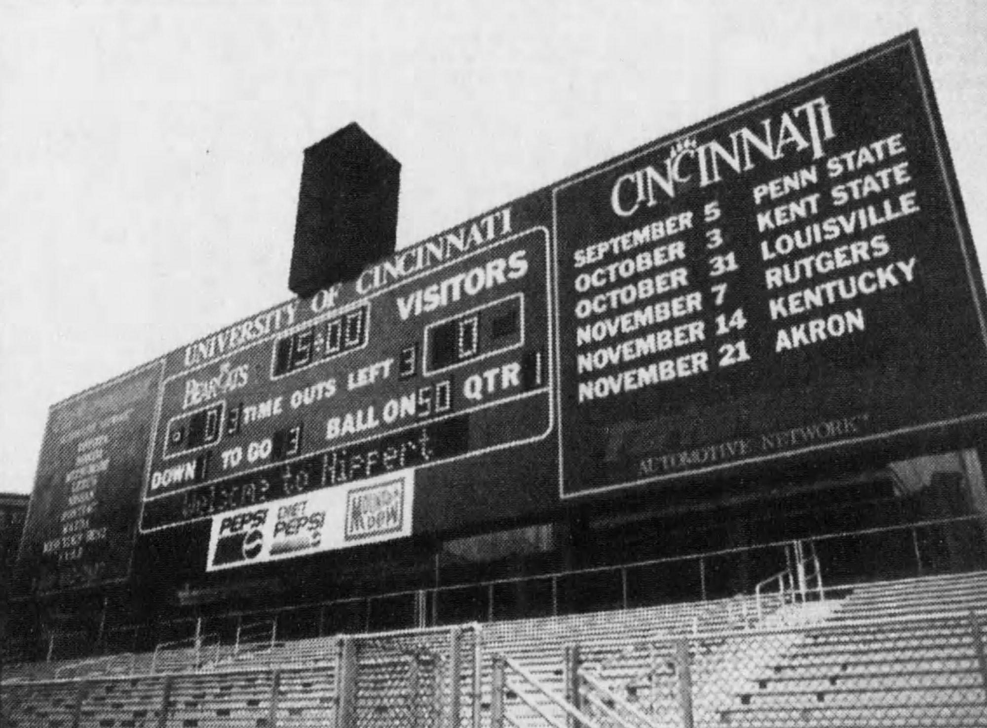 Nippert Stadium's new scoreboard, 1992. [Enquirer]
