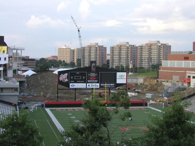 The 2001 scoreboard, shown during CRC construction in 2003. [ The Cincinnati Monocle ]