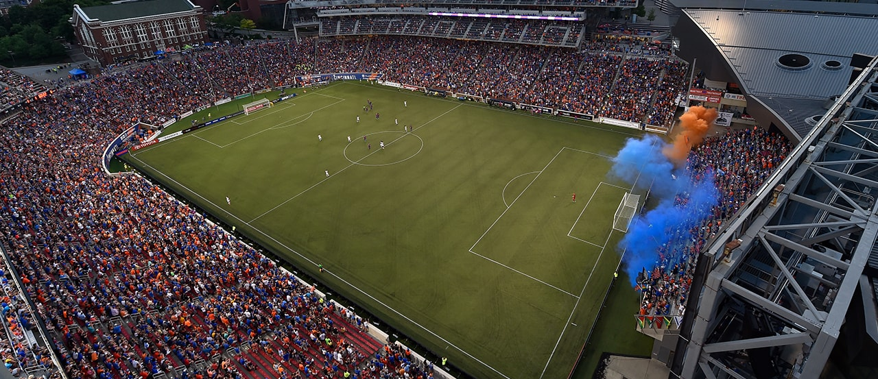 Nippert Stadium with a wider playing surface and several rows removed to accommodate the corners of a soccer pitch. [photo via FC Cincinnati]